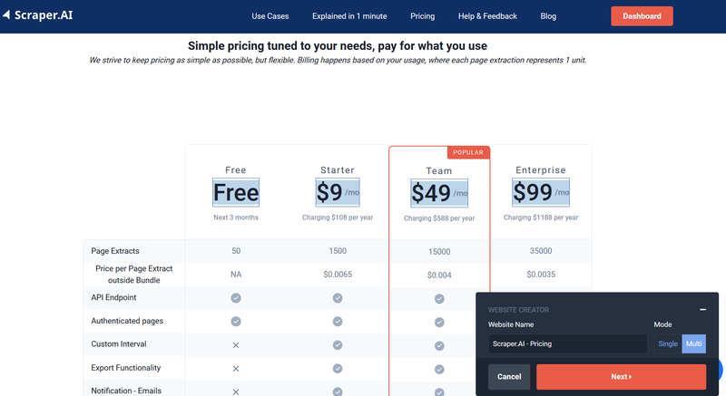 Scraper.Ai – парсинг сайтов через расширение, с широким набором функциональности и демократичными ценам