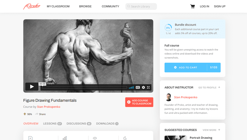 Figure Drawing Fundamentals is available through Proko Studios, which is a hub for artists to improve their skills and connect with like-minded peers and mentors.