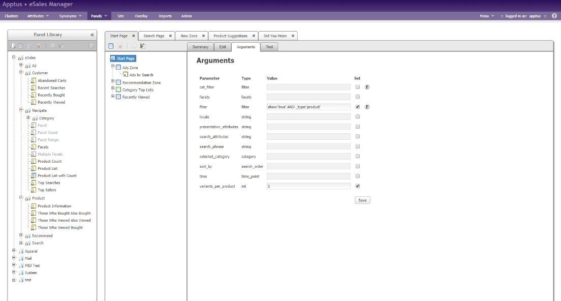 Apptus eSales interface