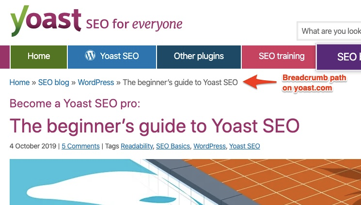 An image showing a breadcrumb path on yoast.com