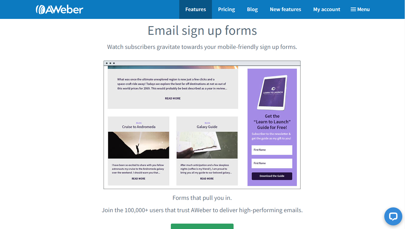 AWeber's email signup forms