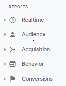 The report options section of the Google Analytics homescreen