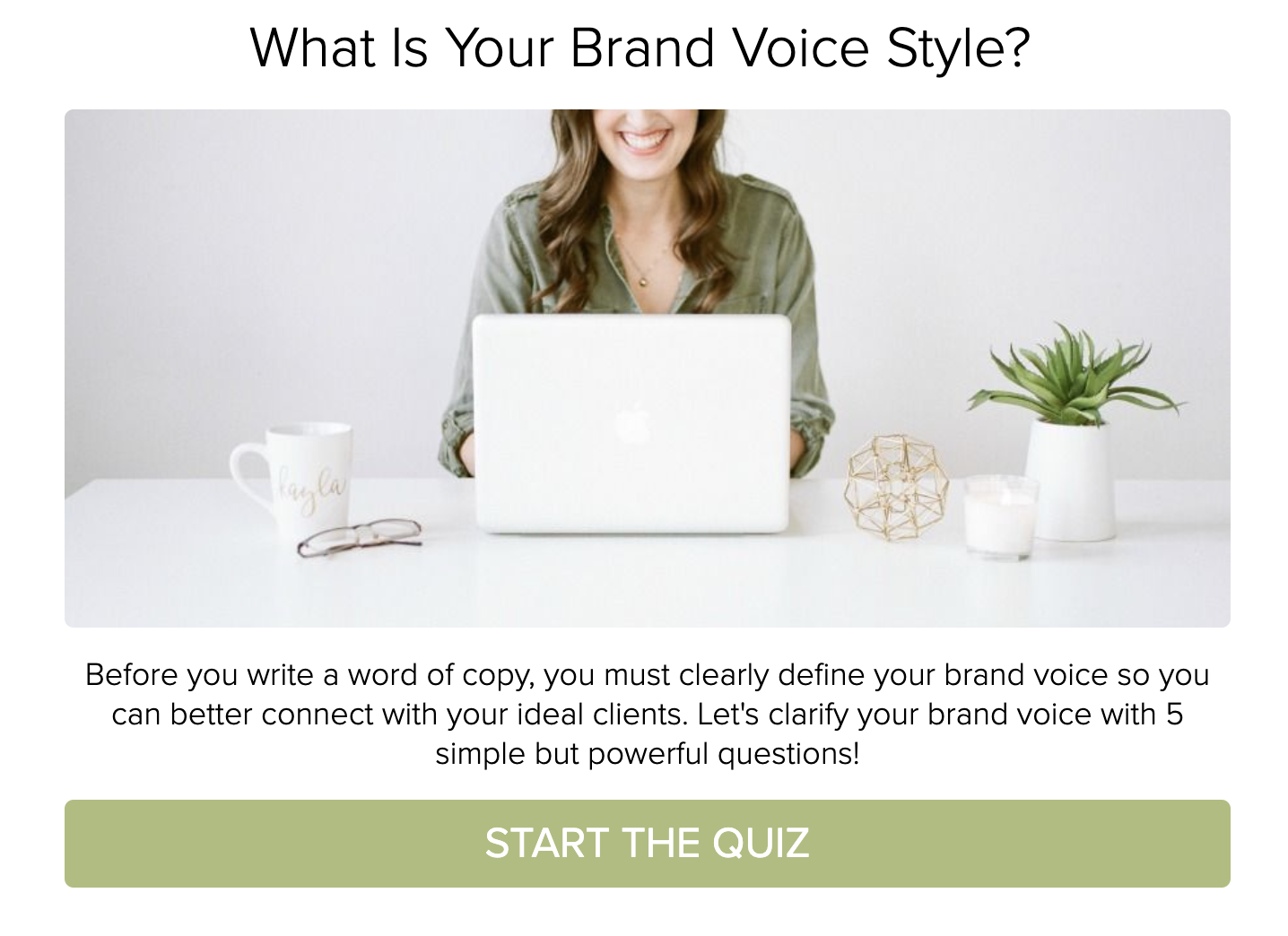 What is your brand voice style quiz cover