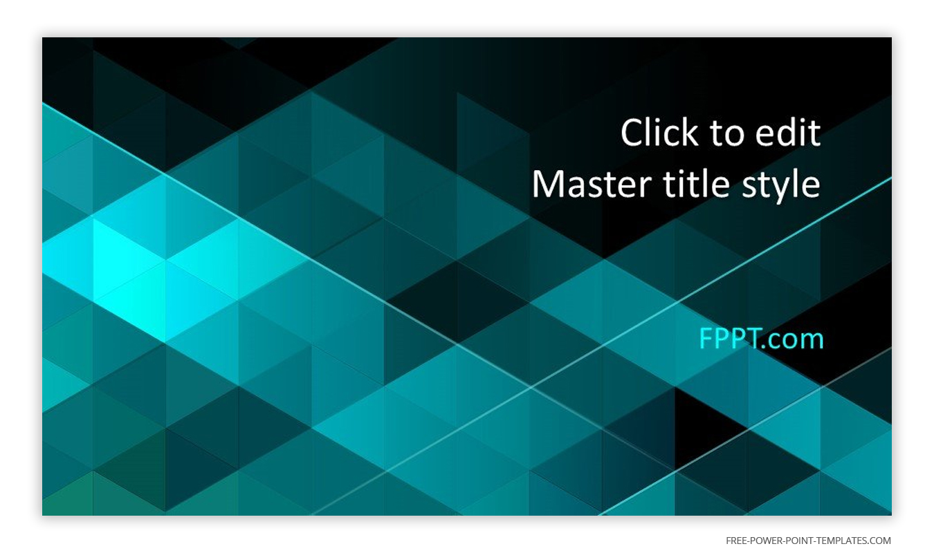 Shades of blue green and geometric shapes are the main themes of this introduction slide.