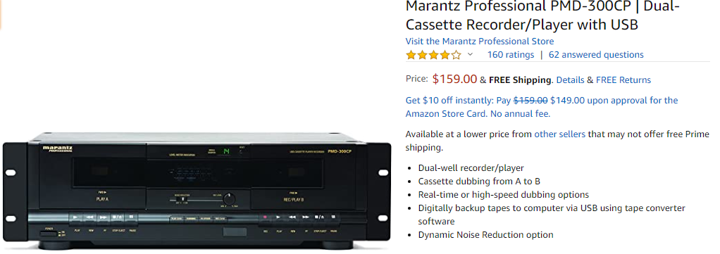 listing of a cassette recorder in an online shop