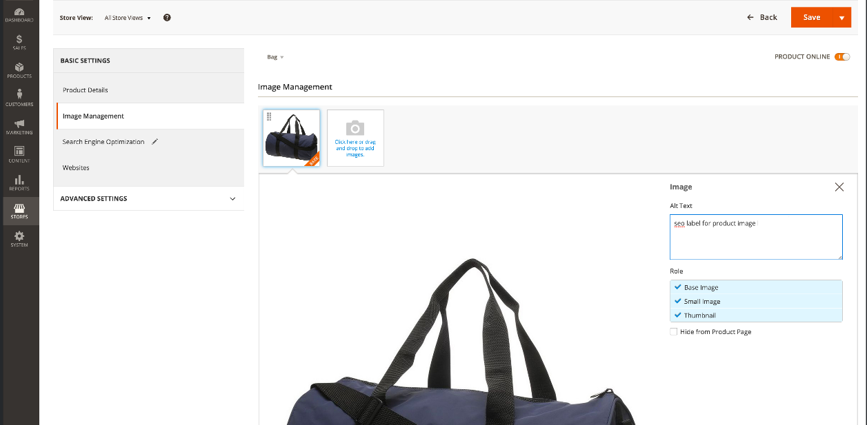 MAgento 2 SEO: Product Image Labels