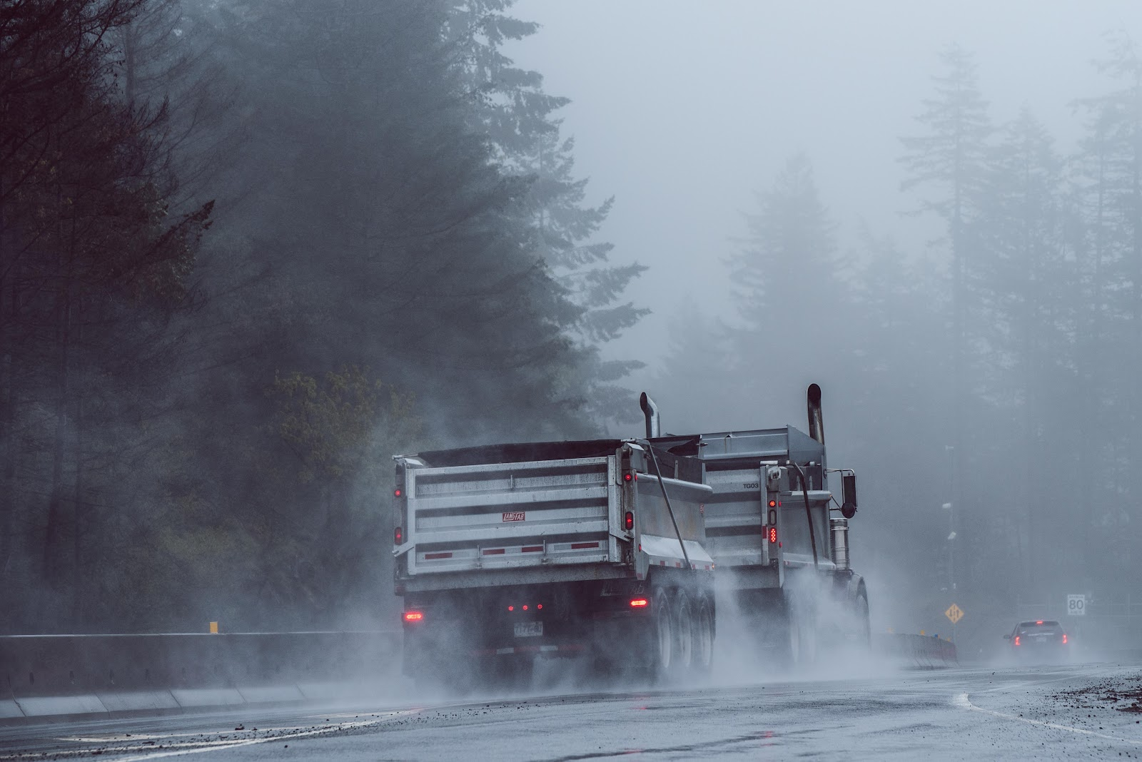 Truck on a foggy road