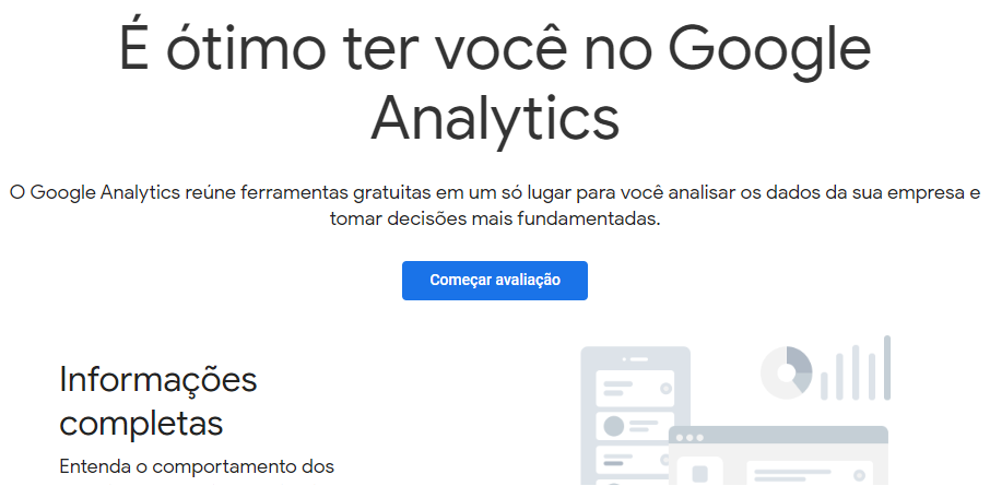 página inicial do Google Analytics