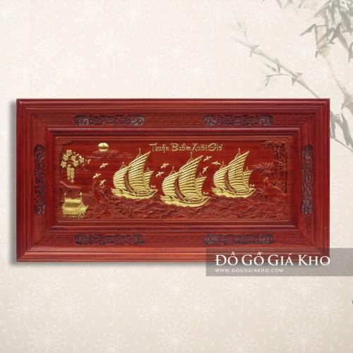Tranh gỗ hương mạ vàng thuận buồm xuôi gió - T005