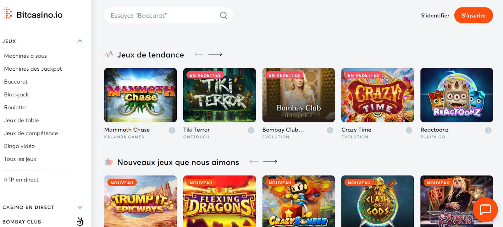 Page d'accueil de Bitcasino.io avec de nombreux jeux à découvrir