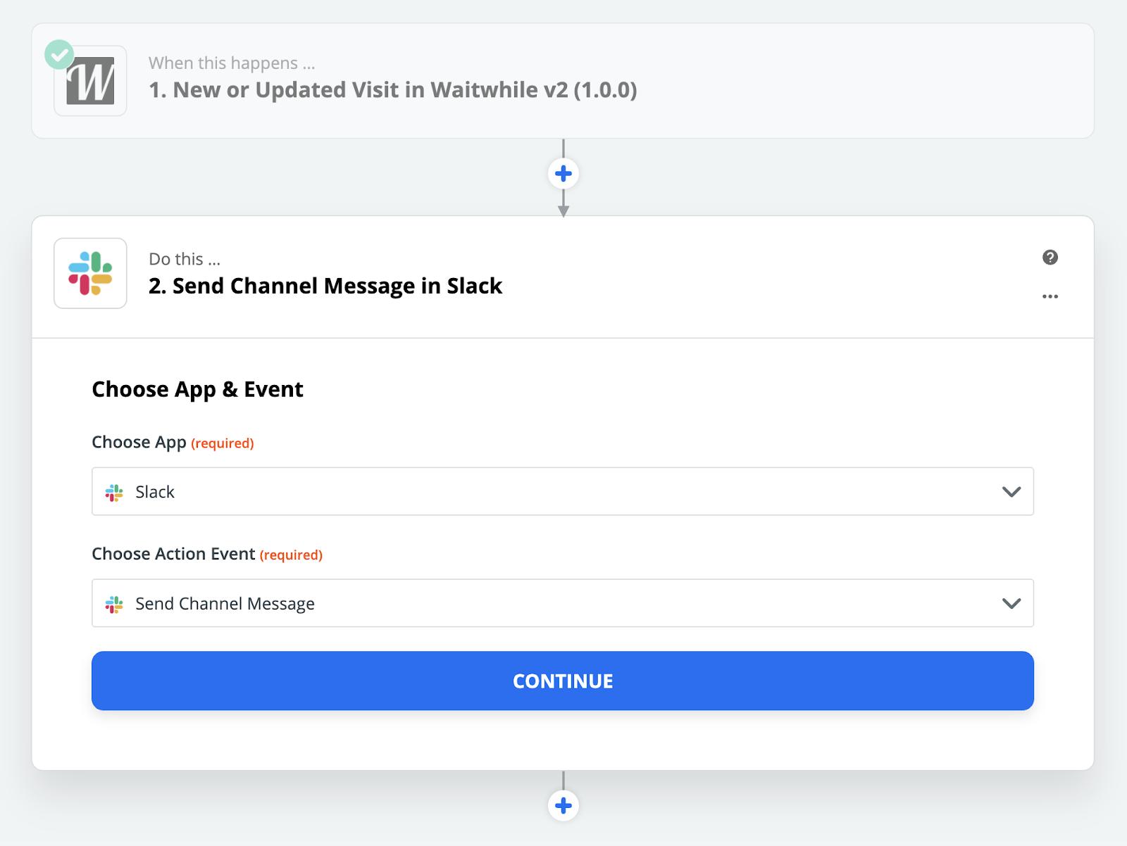 Waitwhile waitlist app screenshot of Zapier integration flow