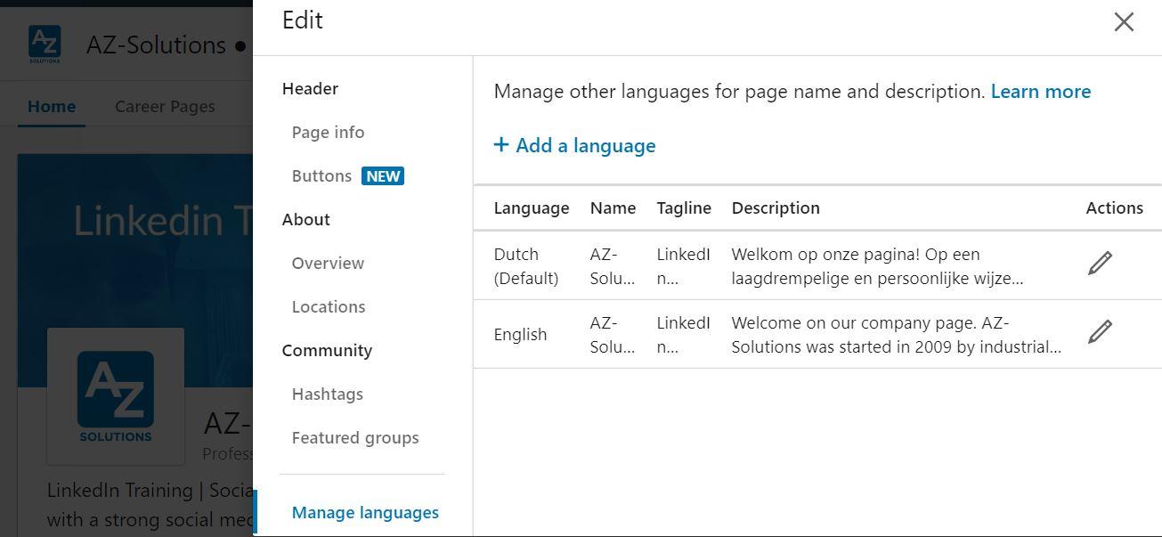 linkedin profiel in meerdere talen
