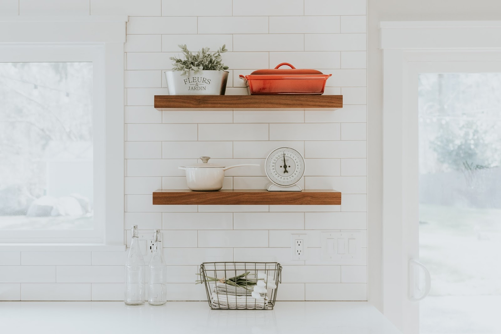 Statement flooring and tiles can have a huge impact on the overall vintage aesthetic of your kitchen; a plain white tiled kitchen with simple wooden  planks