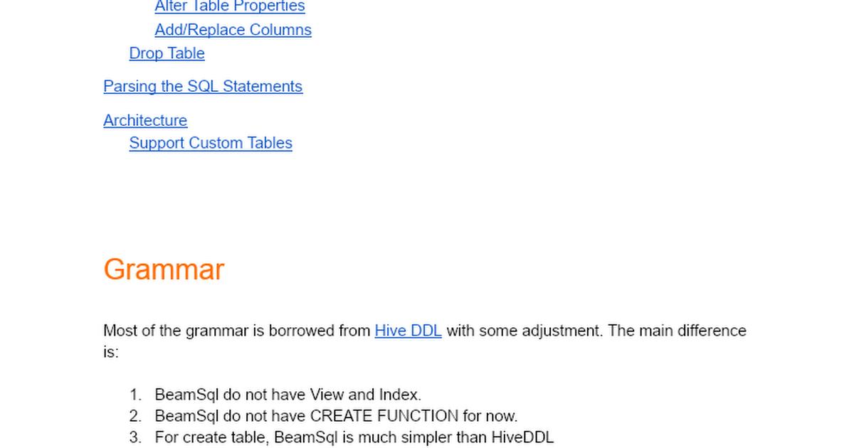 Apache Beam SQL: DDL - Google Docs