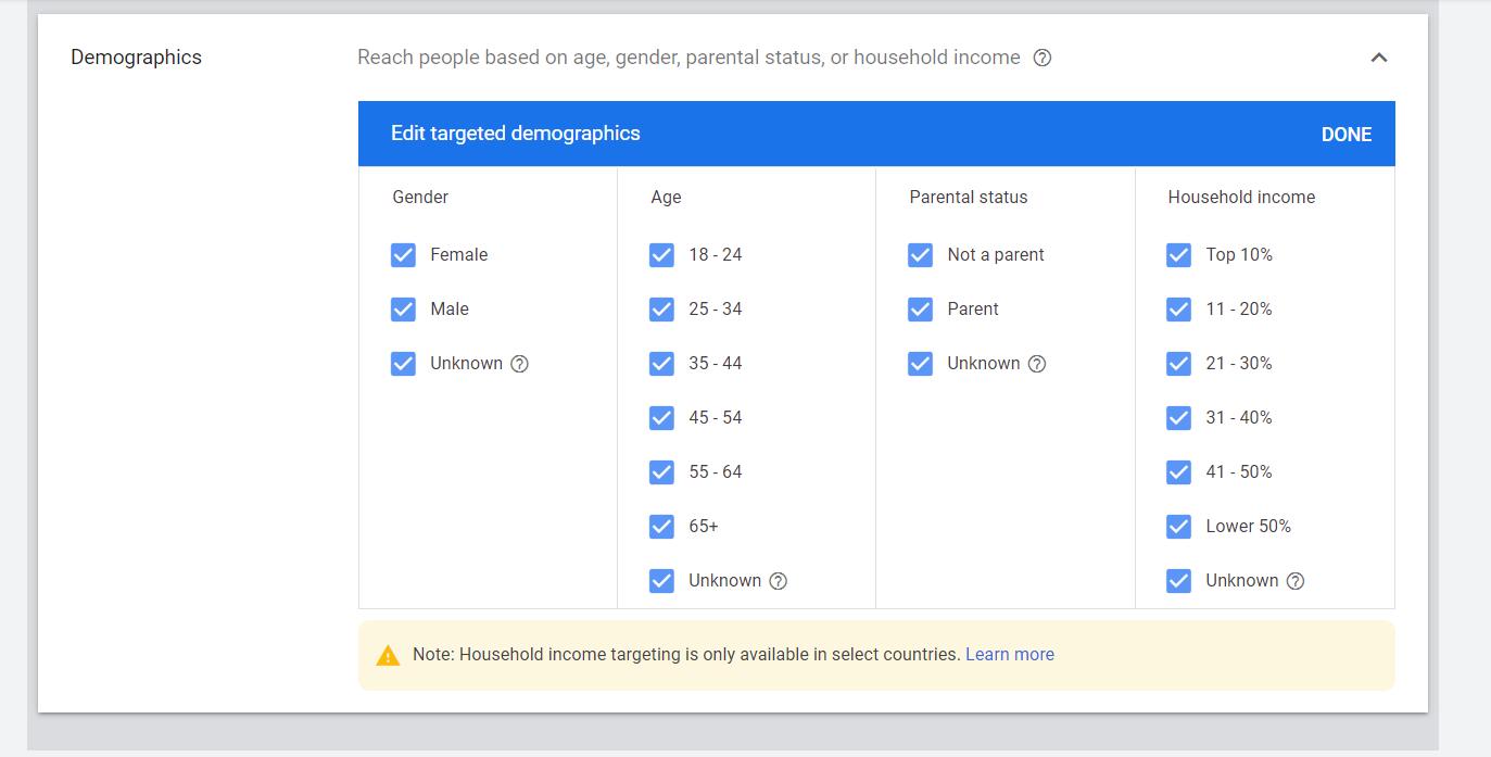 Google Ads Demographics