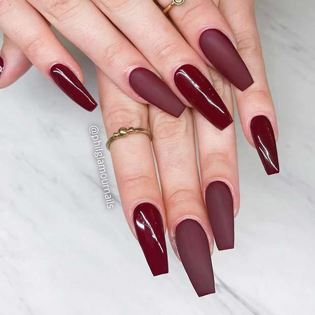 Matte plus glossy burgundy nails