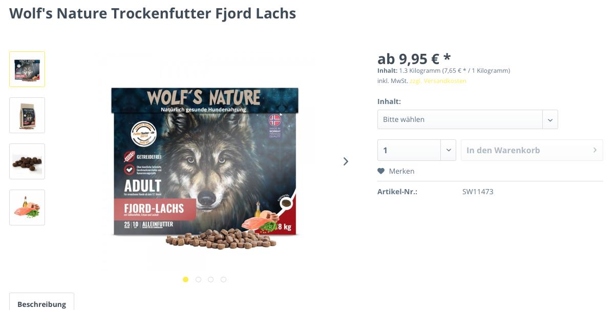 Wolf's Nature Trockenfutter Fjord Lachs ist eines der besten getreidefreien Hundefuttersorten.