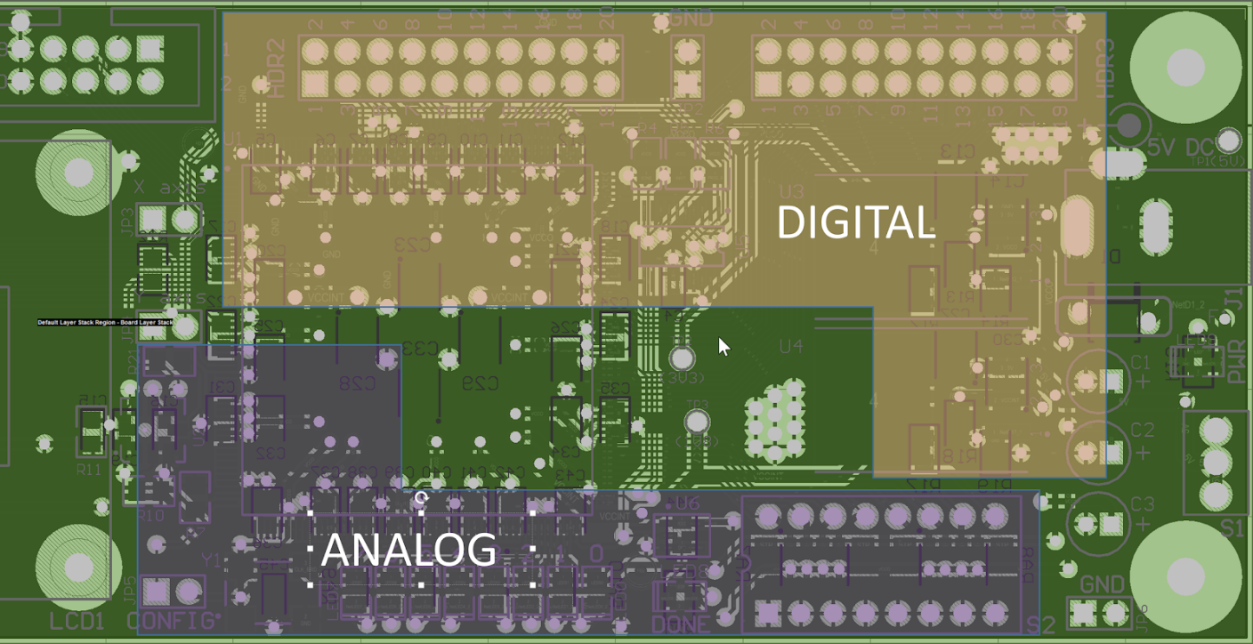 PCB design rules for mixed signal layout and grounding