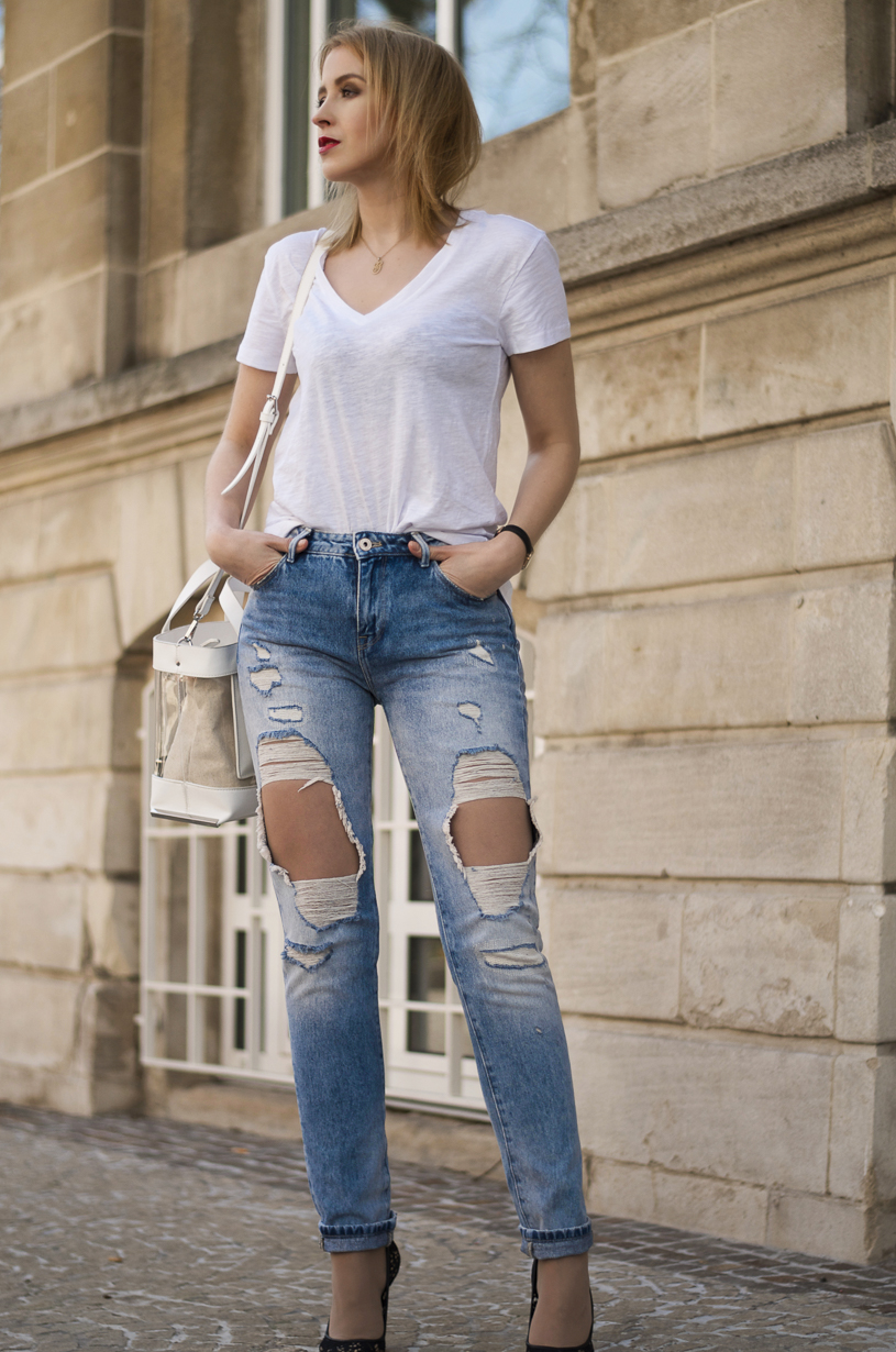 Image result for white t shirt ripped jeans