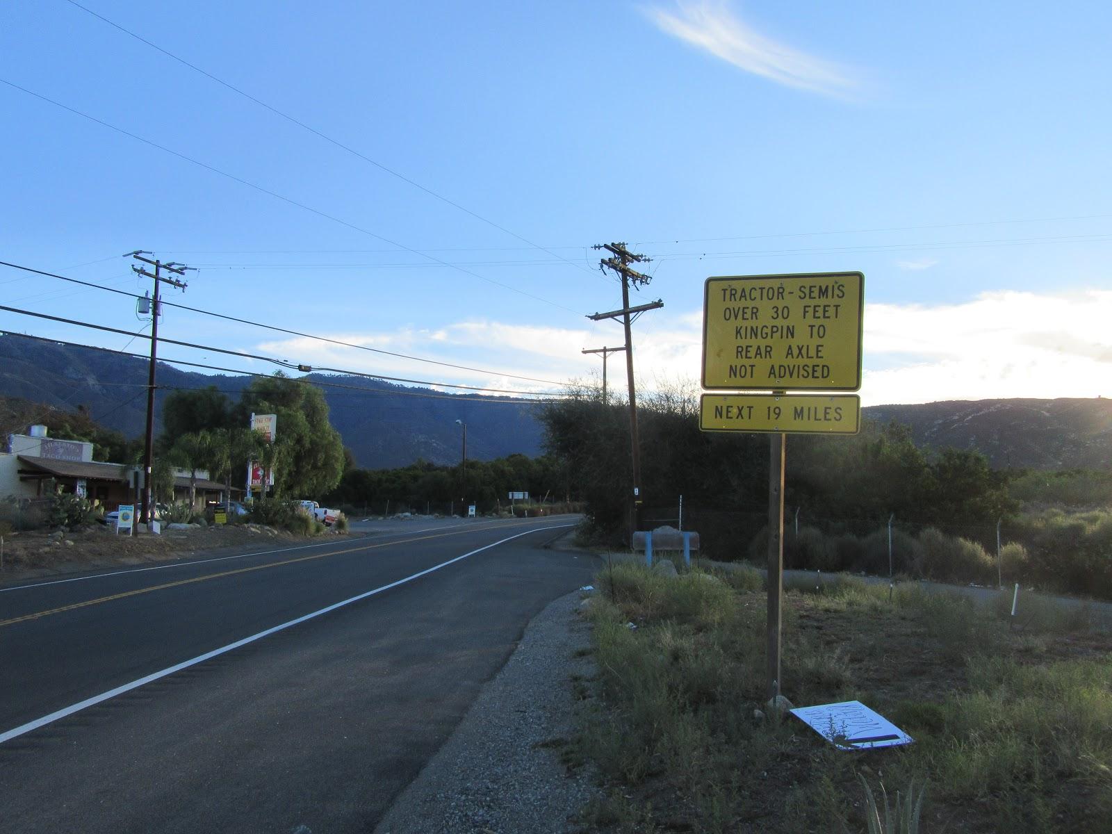 Signs at the start of Palomar Mountain bike climb.