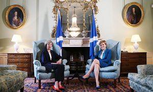 PM Theresa May with Nicola Sturgeon in Edinburgh.