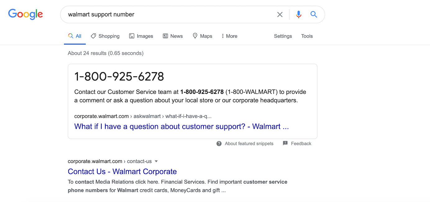 Google search results for Walmart support number