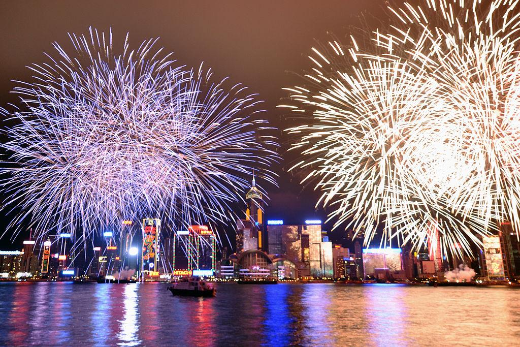 Fireworks display Victoria Harbour