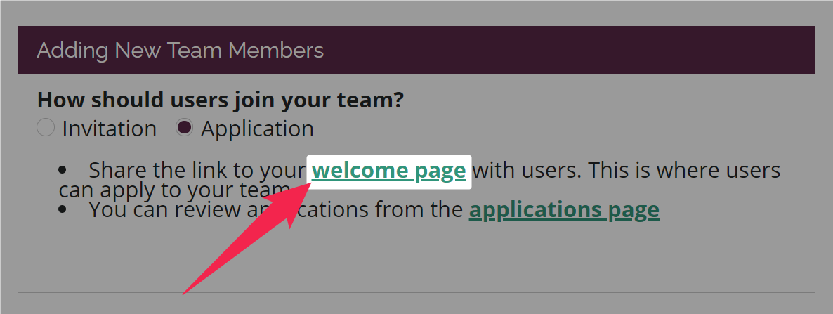 Welcome page link highlighted on the Settings > Team Admission page of an Amara Community team