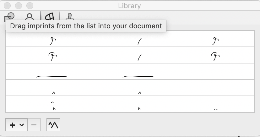 Screenshot showing PDFpen's Library window.