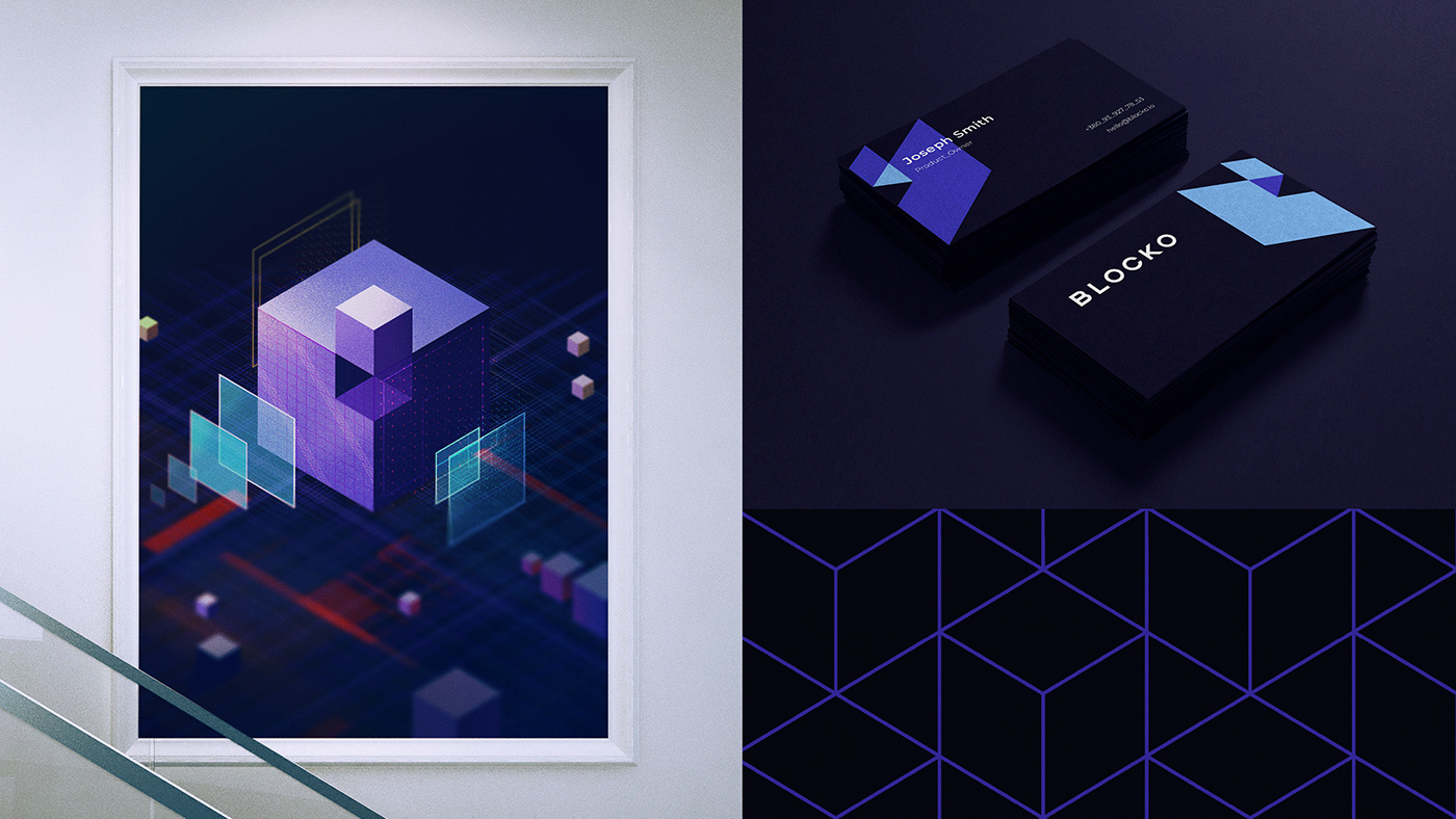blockchain Fintech identity logo Patterns visual identity