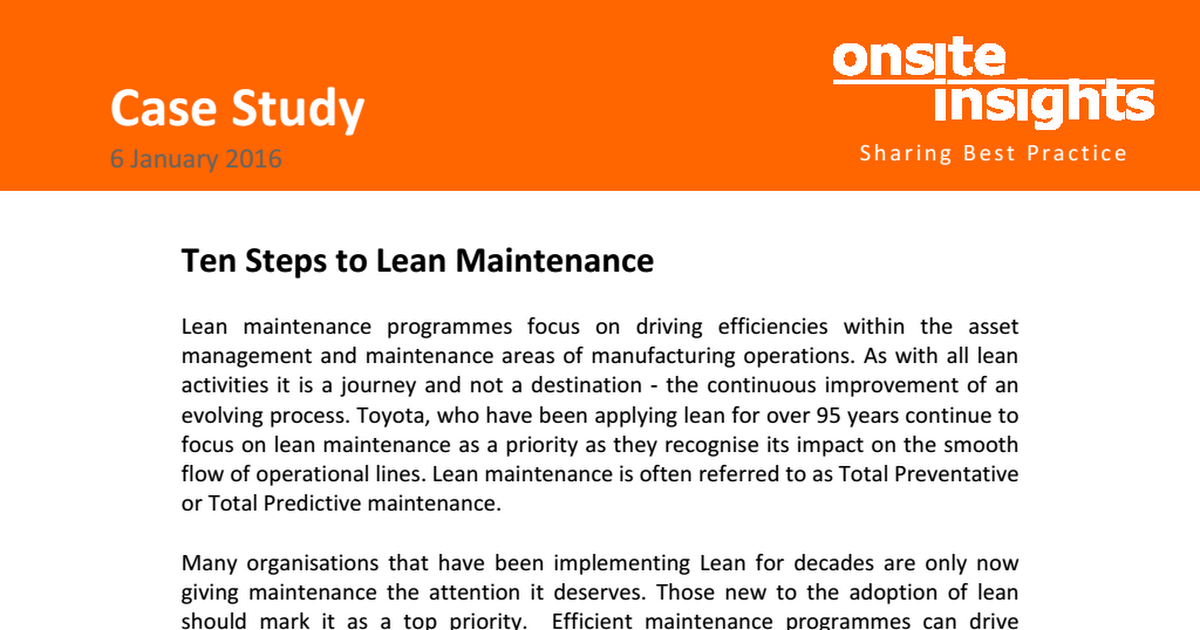 lean case study operations Nestle case study - free download as pdf file (pdf), text file (txt) or read online for free lean production.