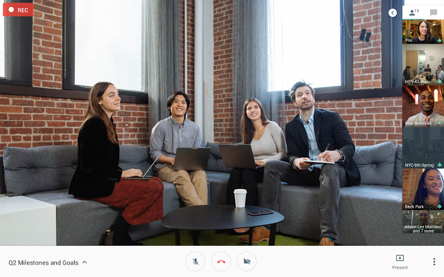 Hangouts Meets: Record a meeting and save to Drive - screenshot of meeting being recorded