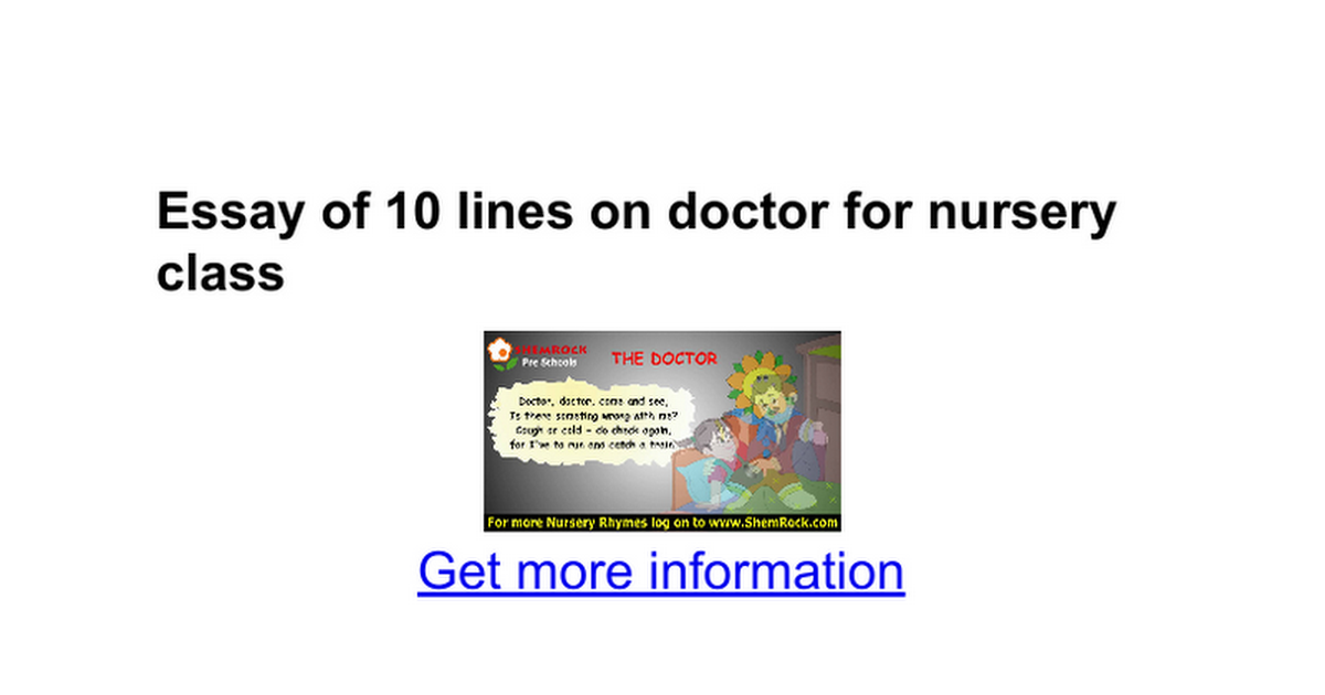 essay of lines on doctor for nursery class google docs