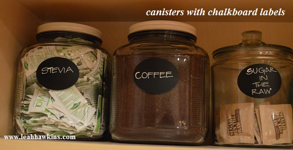 canisters with chalkboard labels