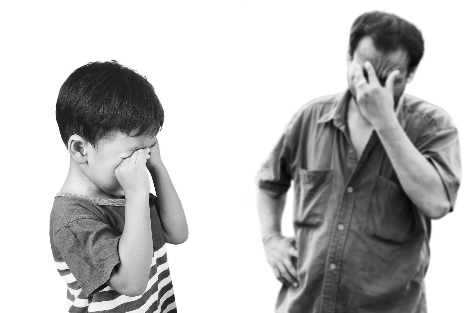 a man and child upset, crying, being judged