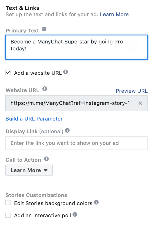 Adding Messenger Ref URL to Instagram Story ad
