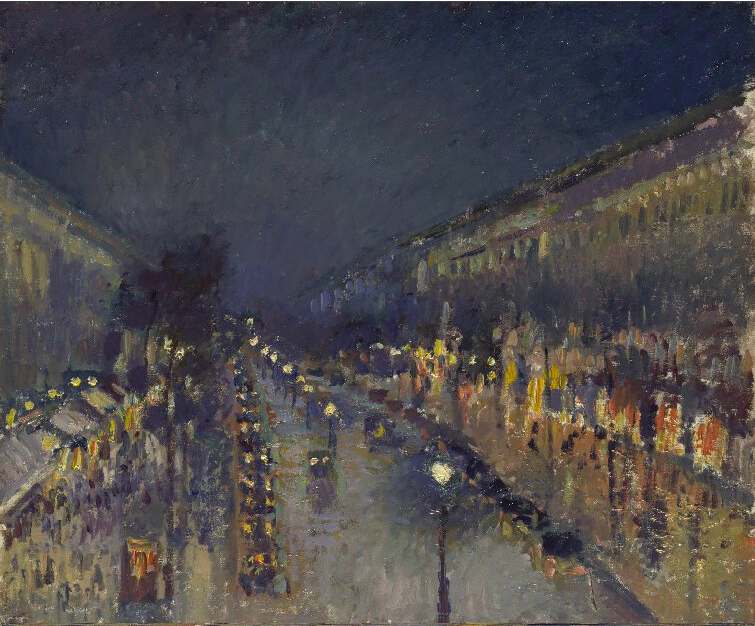 Camille Pissarro (1830-1903)  The Boulevard Montmartre at Night
