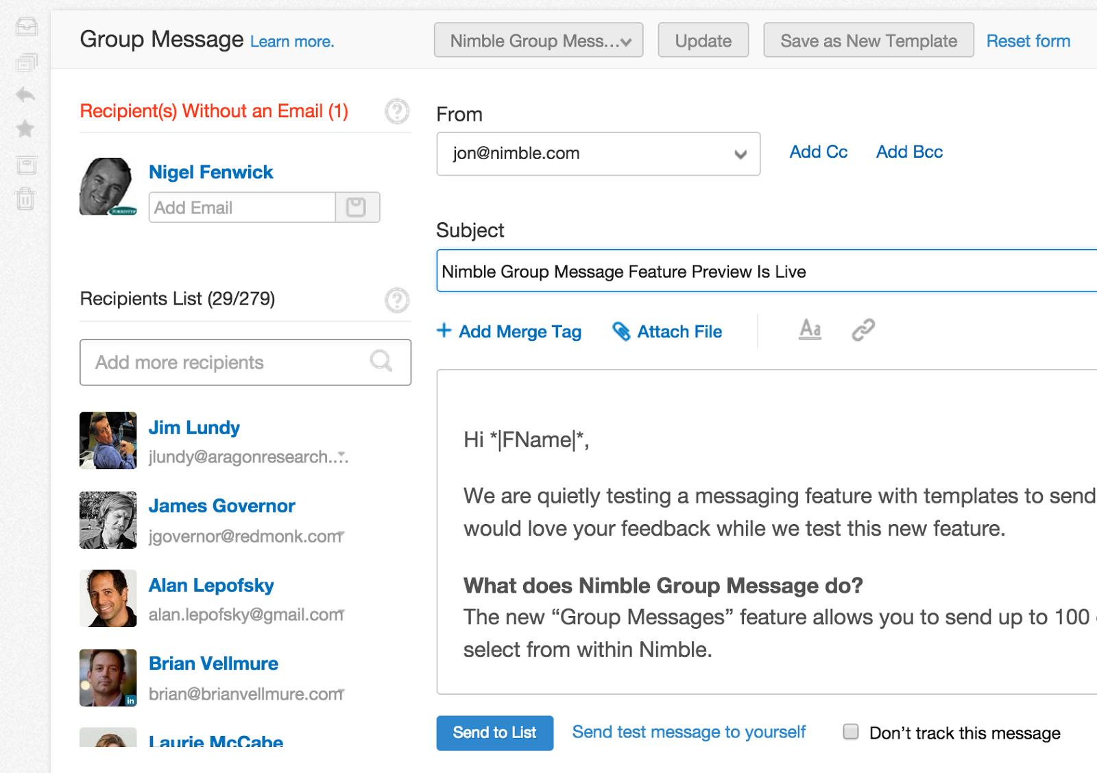 nimble group messaging adds semi automatic nurture marketing nimble. Black Bedroom Furniture Sets. Home Design Ideas