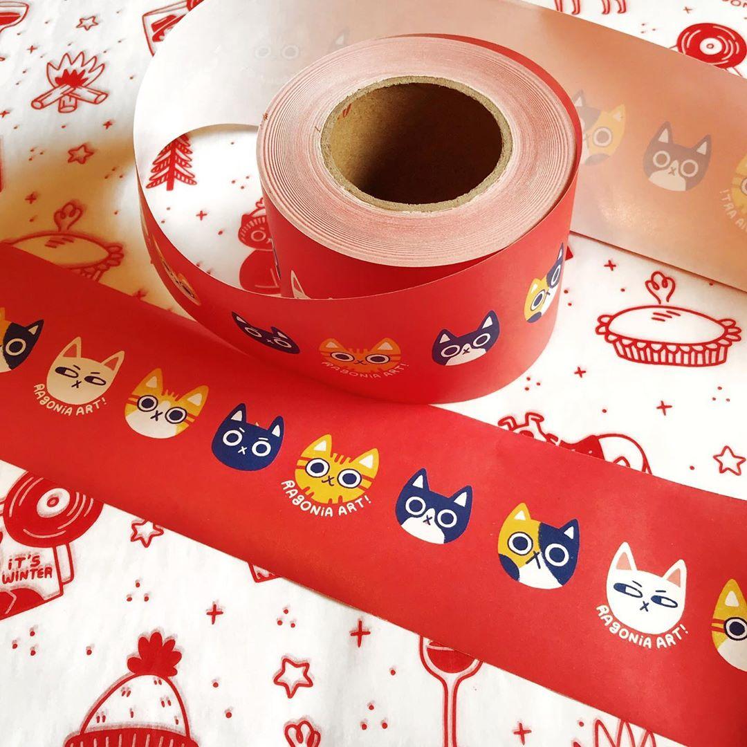 Custom tape with cat illustrations