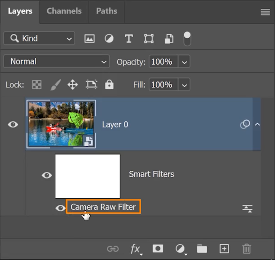 Double-click on the Camera Raw Filter label under the Smart Object to take you back to the Camera Raw workspace.