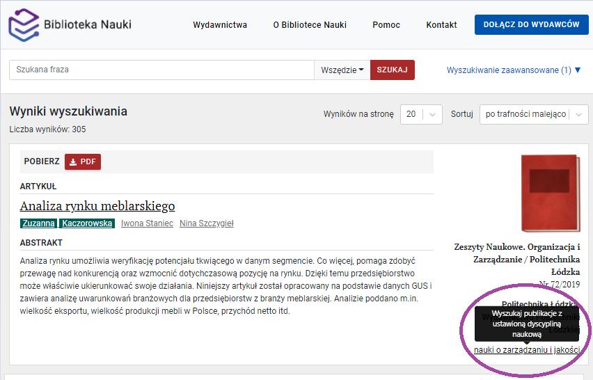 """Zrzut ekranu - widok wyników wyszukiwania z zaznaczoną podpowiedzią dającą możliwość wyszukiwania zaawansowanego publikacji z ustawionym filtrem """"dyscyplina naukowa"""""""