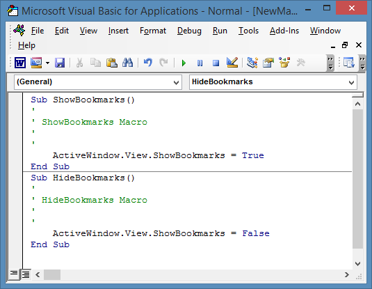View show and hide bookmarks in macro editor.