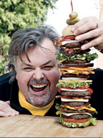 Chef Ted Reader giant burger stack