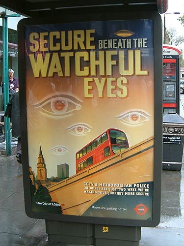 'Secure Beneath The Watchful Eyes' poster in London