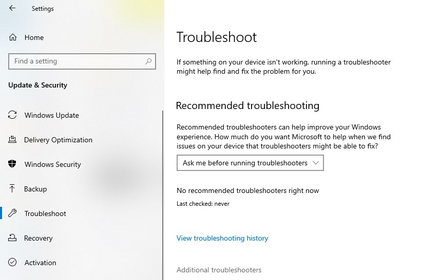 Troubleshoot page in the Settings