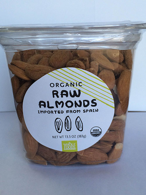 Label, Whole Foods Market Raw Almonds Imported From Spain, 13.5 oz..