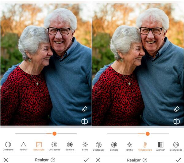 Foto de avós sorrindo sendo editada pelo AirBrush com a ferramenta Realçar