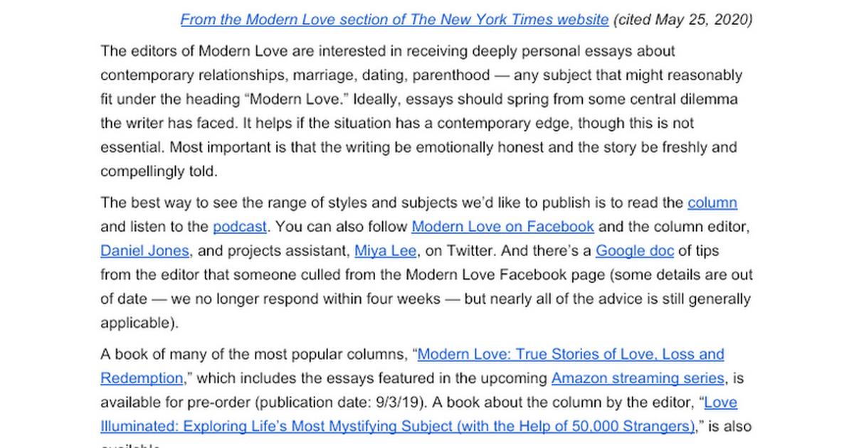 modern love column submission tips google docs