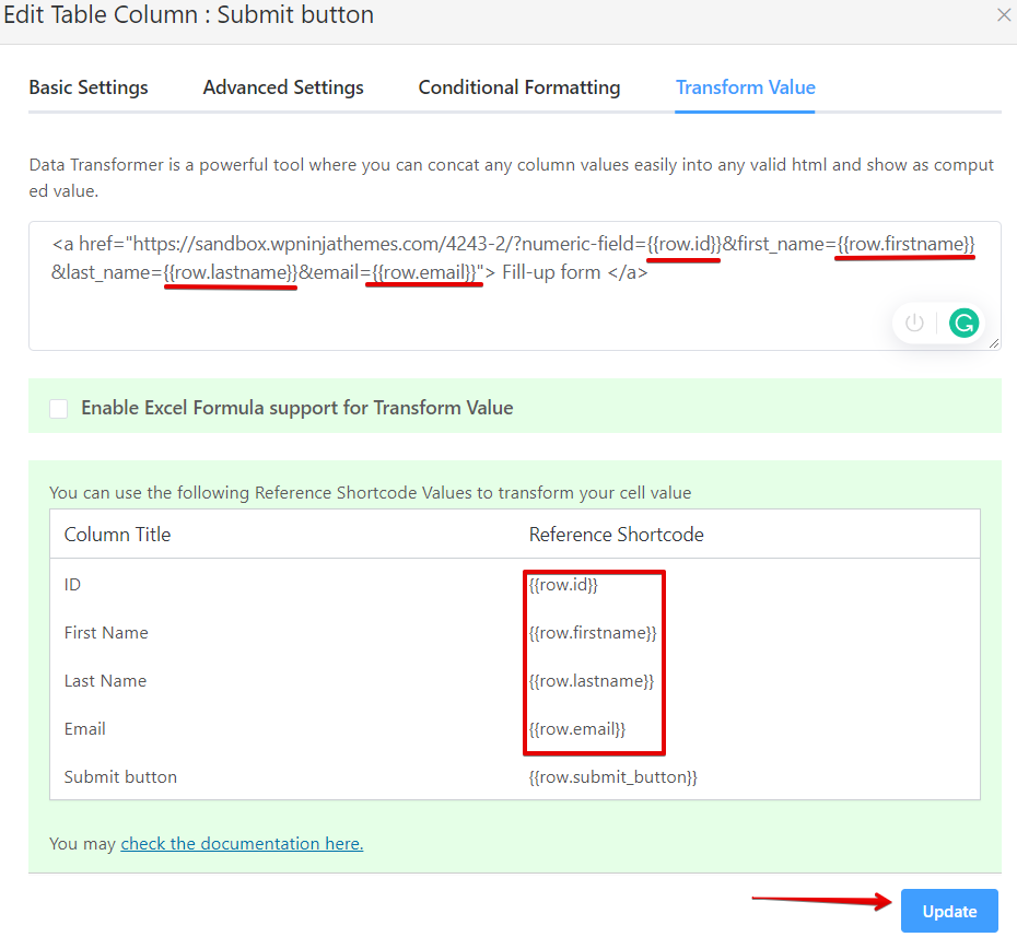 link to submit button in Ninja tables