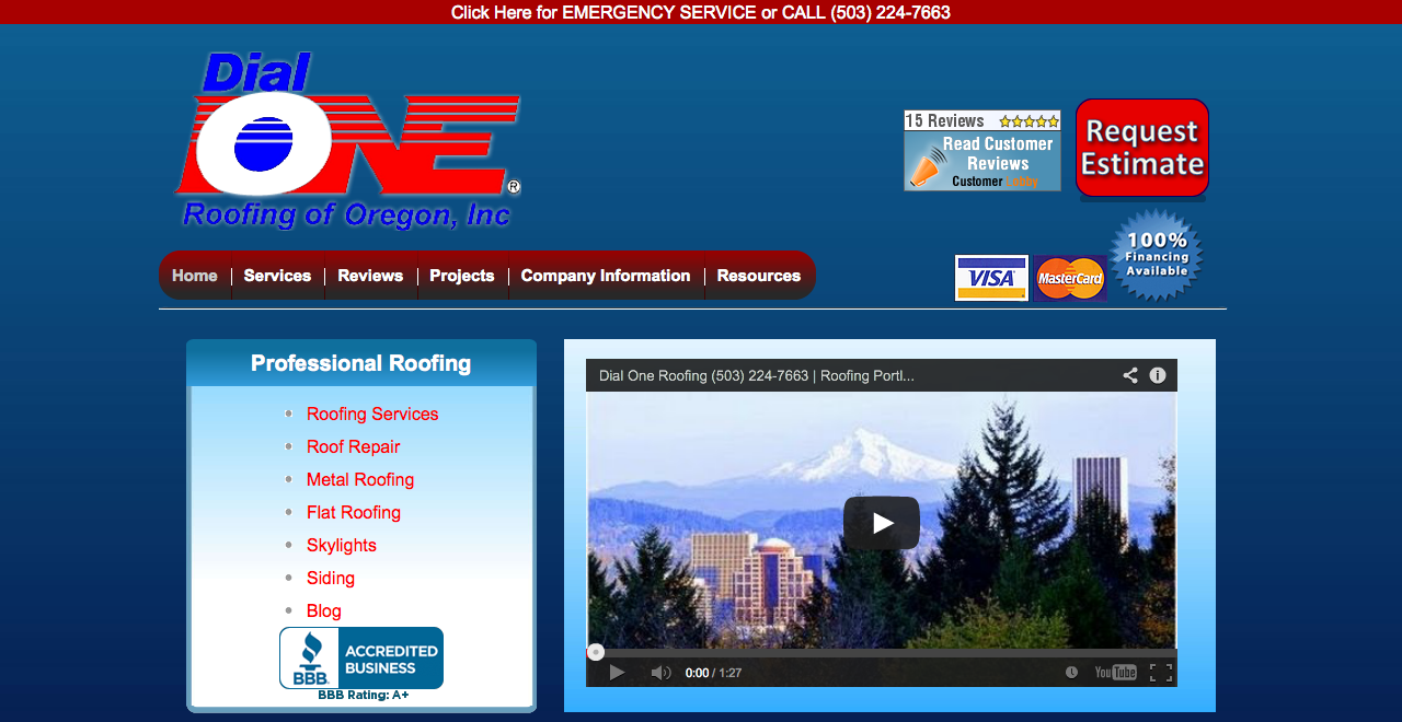 dial one roofing homepage